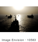 #10583 Picture Of Military Ships At Sunset