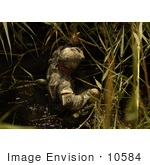#10584 Picture Of An Army Soldier Wading In Water