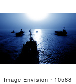 #10588 Picture Of Ships At Sunset Blue Tones