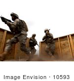 #10593 Picture Of Army Soldiers During A Room Clearing Practice