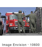 #10600 Picture Of Soldiers Directing A Fire Truck