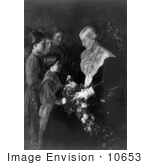 #10653 Picture Of Children Giving Susan B Anthony Flowers