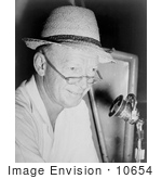 #10654 Picture Of Red Barber At Microphone