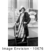 #10676 Picture of Ethel Barrymore Standing on Ship Steps by JVPD