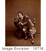 #10716 Picture of Edwin Booth in a Hamlet Costume by JVPD