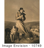 #10749 Picture Of A Shepherd In The Wind With His Dog And Sheep