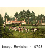 #10753 Picture Of A Man Surrounded By Hounds