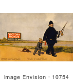 #10754 Picture Of A Canadian Policeman With A German Soldier And Dachshund Dog