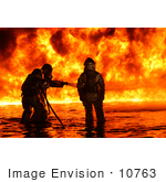 #10763 Picture Of Firemen Fighting A Fire