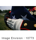#10773 Picture Of A Folded National Ensign