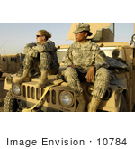 #10784 Picture Of Two Female Army Soldiers On A Vehicle