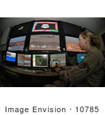 #10785 Picture Of A Female Soldier Using A Security System
