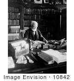 #10842 Picture of Andrew Carnegie Reading at a Desk by JVPD