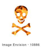 #10886 Picture Of A Flaming Skull And Crossbones