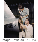 #10924 Picture of Riveter Virginia Davis Assembling an Airplane by JVPD