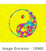 #10960 Picture of a Butterfly and Flower Patterned Yin-Yang by Jamie Voetsch