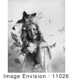 #11026 Picture Of A Little Girl With Butterflies