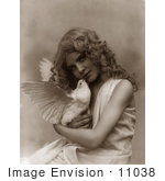#11038 Picture of an Angelic Girl Holding a Dove by JVPD