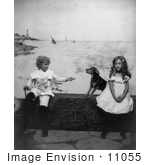 #11055 Picture Of Children And Dog Near The Ocean