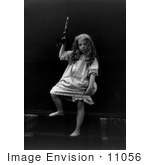 #11056 Picture Of A Little Girl In A Nightgown Holding A Candle