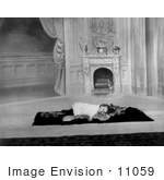 #11059 Picture of a Girl Sleeping on a Rug Near a Fireplace by JVPD