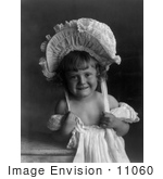 #11060 Picture of a Girl Wearing a Dress and Bonnet by JVPD
