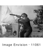 #11061 Picture Of An Old Man Using A Spyglass