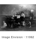 #11062 Picture Of A Senior Man And Children On A Pier