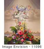 #11096 Picture Of Cherubs And Cross
