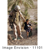 #11101 Picture Of A Soldier With An Iraqi Child
