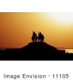 #11105 Picture Of Soldiers And Children Silhouetted Against A Sunset