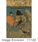 #11122 Picture Of A Man In A Carriage A Dog Alongside