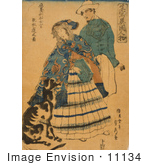 #11134 Picture Of A Woman In Japan With A Dog