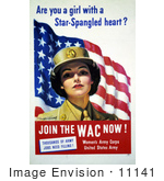 #11141 Picture Of A Wac Woman With American Flag