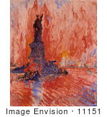 #11151 Picture Of New York And Statue Of Liberty In Fire