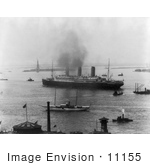 #11155 Picture Of Ships Near The Statue Of Liberty