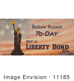 #11185 Picture Of The Statue Of Liberty And Flag Background