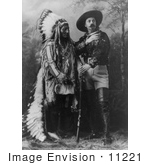 #11221 Picture of William F Cody (Buffalo Bill) Standing With Sitting Bull by JVPD
