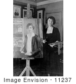 #11237 Picture Of A Painter With A Portrait Of Grace Coolidge