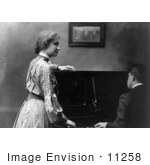 #11258 Picture Of Helen Keller And Man At A Piano