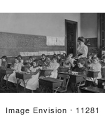 #11281 Picture Of A Teacher And Students In A Classroom