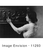 #11293 Picture Of Helen Adams Keller Touching A Sculpture