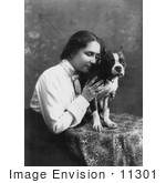 #11301 Picture of Helen Keller With a Boston Terrier Dog by JVPD