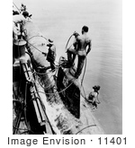 #11401 Picture Of Sailors Fastening A Submarine
