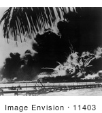 #11403 Picture Of An Explosion During The Attack On Pearl Harbor