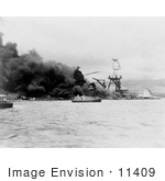 #11409 Picture Of The Uss Arizona In Flames