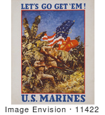 #11422 Picture Of Marines With Flags And Weapons In A Jungle