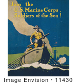 #11430 Picture Of A Soldier In A Boat
