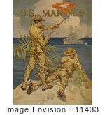 #11433 Picture Of Soldiers Using Signal Flags