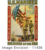 #11436 Picture Of Marines Raising The American Flag